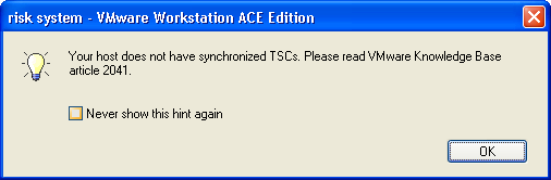 Your host does not have synchronized TSCs. Please read VMware Knowledge Base article 2041.